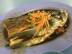 Steamed fish in China town hawker